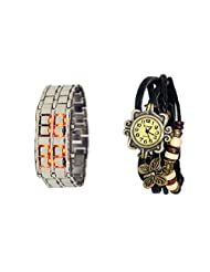 COSMIC COUPLE WATCH- BLACK LEATHER ANALOG WATCH FOR WOMEN AND SILVER CHAIN BRACELET WATCH FOR MEN
