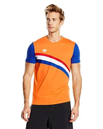 Arena T-Shirt Manica Corta Nederland [Arancione/Blu]