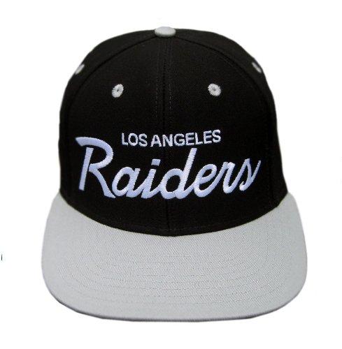 522d29687a9dc5 Los Angeles Raiders Black/Silver Two Tone Plastic Snapback Adjustable  Plastic Snap Back Hat / Cap