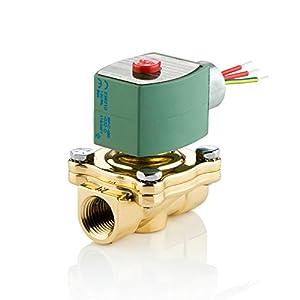 "ASCO 8210G002-120/60,110/50 Brass Body Pilot Operated General Service Solenoid Valve, 1/2"" Pipe Size, 2-Way Normally Closed, Nitrile Butylene Sealing, 5/8"" Orifice, 4 Cv Flow, 120V/60 Hz, 110V/50 Hz by ASCO Valve Inc."