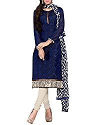 Decent World Blue Georgette Special Occasion Dress Material