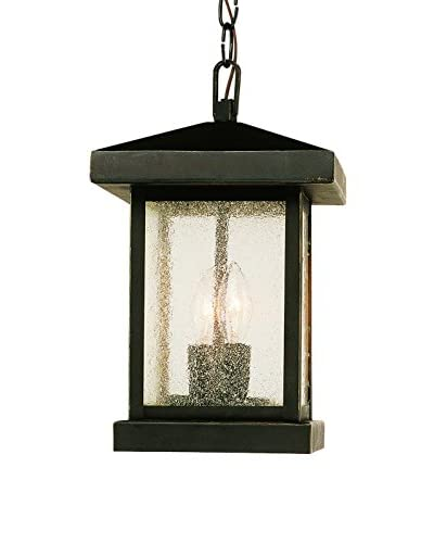 Bel Air Lighting 2-Light Hanging Lantern, Weather Bronze