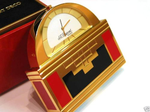 ST Dupont Art Deco Gold Table Clock