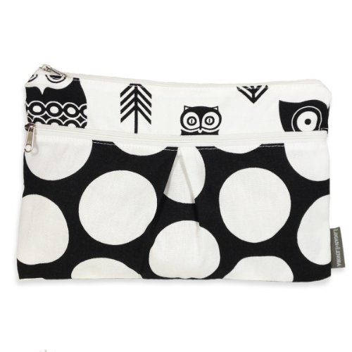Logan + Lenora Wet/Dry Diaper Clutch 'Black Owls' Wet Bag Small