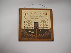 Theres No Place Like Home Country Primitive Wall Art Sign Wooden Signs Sheep *