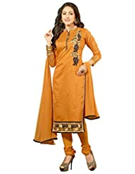 Surat Tex Orange Color Embroidered Chanderi Cotton Un-Stitched Dress Material