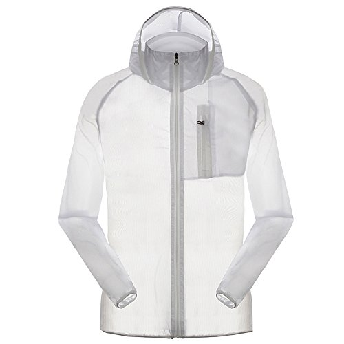 Men's Outdoor Anti UVA UPF 30+ Waterproof Quick-dry Thin Windbreaker Jackets White CN Tag 3XL - US XL
