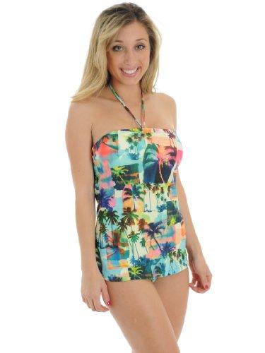 798f69d4c054a Tankini Swimsuit Gorgeous Palm Tree Design Junior Swim Wear Halter Tube Top  2 Piece Set Sizes  Medium
