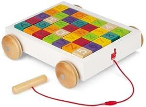 Janod - J05583 - Jouet Premier âge - 35 Cubes Alphabet en Chariot