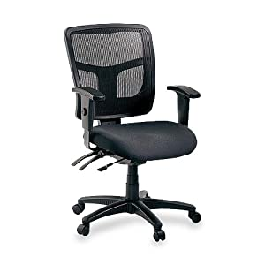 """Lorell 86201 Managerial Mid-Back Chair, Mesh Fabric, 25-1/4""""x23-1/2""""x35""""-41-3/10"""", Black"""