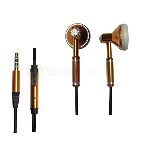 Spring Digi Center The Latest Oem Headphone With Mic For Iphone,Ipad,Samsung Smartphones And Tabs And Other Devices With 3.5 Mm Jack(Gold)