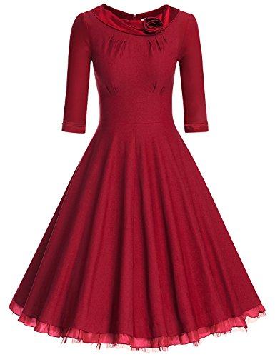 MUXXN Ladys 1950s Rockabillty 3/4 Sleeve Swing Vintage Dress (M, Burgundy)