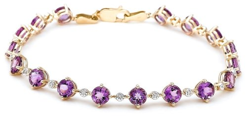 14k Yellow Gold Amethyst and Diamond Tennis Bracelet, 7.25""