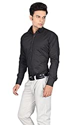 The Standard Mens Casual / Party Wear Shirt, Dotted Print Shirt. (38, Black)