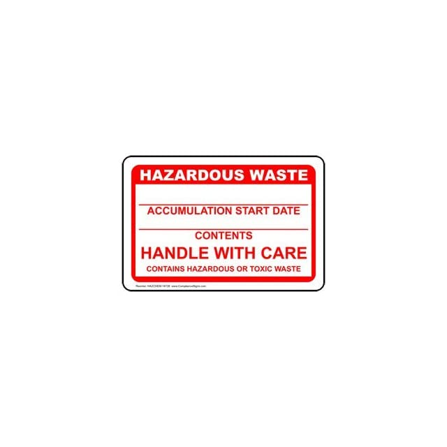 Hazardous Waste Handle With Care Label HAZCHEM 14728 Hazmat