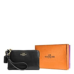 COACH Women\'s Box Program Smooth Corner Zip LI/Black Clutch