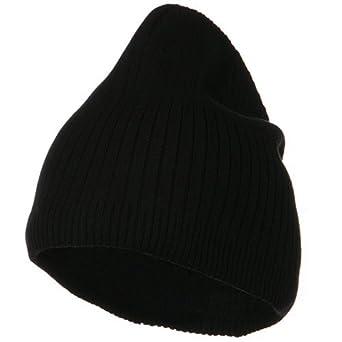 Big Stripe Ribbed Cotton Beanie - Black