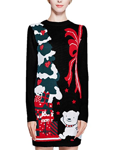 Women Christmas Sweater, V28 Ugly Cowl Neck Cute Reindeer Xmas Sweater Dress (L, Little Bear Black)