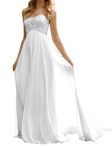 Favors Dress Women's Sweetheart Beach Wedding Dress Bead Bridal Gown Empire White 4