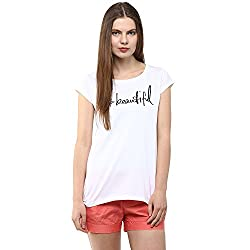 Fritzberg Women's Soft Slim Printed White Round Neck Casual Top
