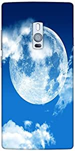 Snoogg blue sky moon Hard Back Case Cover Shield For Oneplus Two