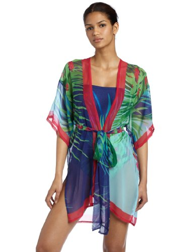 Gottex Womens Jungle Fever Kimono With Drawstring Tie, Multi, One Size