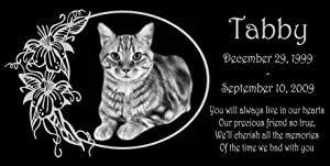 12 x 6 Lazer Gifts Personalized Black Granite Pet Memorial Marker Style Tabby