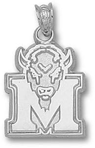Marshall Thundering Herd 5 8 M Marco Pendant - 14KT White Gold Jewelry by Logo Art