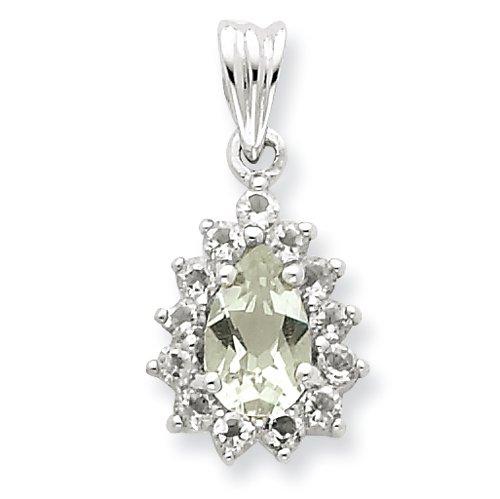 Sterling Silver Rhodium Green Amethyst Pendant