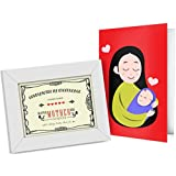 Gift For Mother Mother's Day Gift Gift For Mom Certificate Framed In Photo Frame (22x17)cm With Greeting Card...