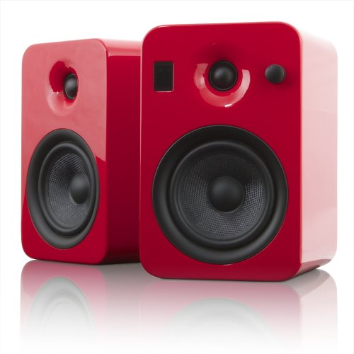 Kanto Yumiredgl Powered Bookshelf Speakers With Bluetooth Technology (Red Gloss)
