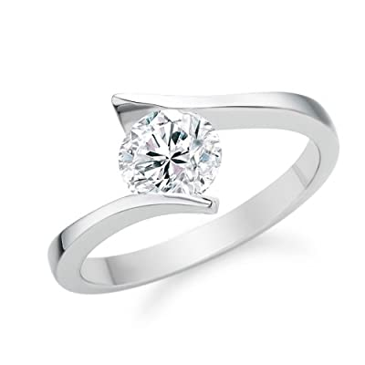 0.30 Carat F/VS1 Round Brilliant Certified Diamond Solitaire Engagement Ring in 18k White Gold