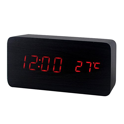 Fashion Cube Mini Bamboo Wood Grain LED Light Alarm Clock with Time and Temperature Display & Sound Control-Latest Generation Desktop Digital Wood Alarm Clock by Sungpunet