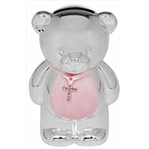 Christening Gift Silver Plated Pink Enamelled Teddy Money Box