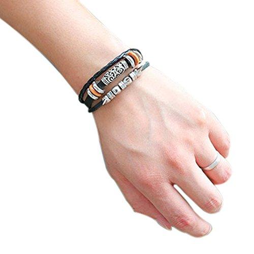 Red Dandelion Unique Rivet Braided Multilayer Charm Adjustable Fashion Bracelet