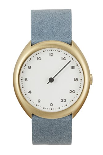 slow Unisex-Armbanduhr slow O 13 - Light Blue Vintage Leather, Gold Case, White Dial Analog Leder Hellblau slow O 13