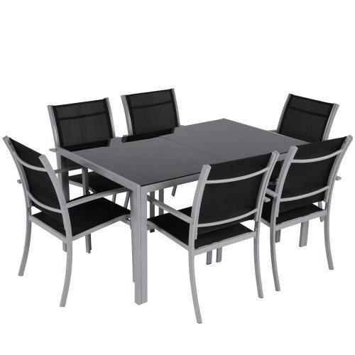 Arredo giardino in acciaio salotto da giardino tavolo sedie set da 7 colore a scelta (grigio chiaro)