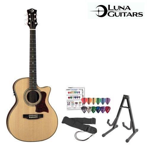 Luna Guitars Americana Folk 100 (Amf-100Usb) Acoustic-Electric Guitar With Stand, Strap & Pick Sampler
