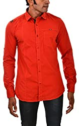 Indipulse Men's Casual Shirt (IF1151101C, Red, S)