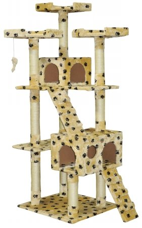 Go Pet Club Cat Tree Condo House Furniture, 72-Inch, Paw Print