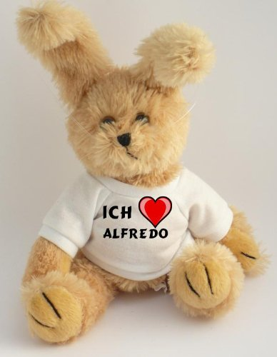 Pl&#252;sch Hase mit T-shirt mit Aufschrift Ich liebe Alfredo (Vorname/Zuname/Spitzname)