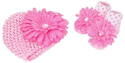 Baby Bucket baby flower knit strechable cap socks gift box L pink DOTTED and white