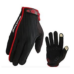 NetsPower® CoolChange Vollfinger Nylon Reithandschuhe - in der Lage, einen Bildschirm zu berühren - Fahrradhandschuhe (schwarz-Rot, XXL)