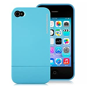 CaseCrown Metallic Glider Case for Apple iPhone 4 and 4S (AT&T, Sprint, & Verizon compatible) - Light Blue