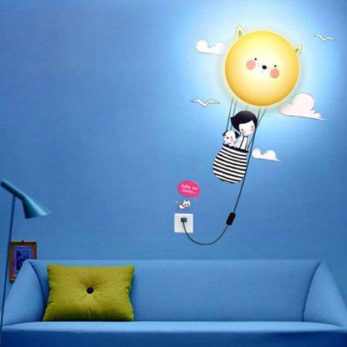 Wfy-Mall Cartoon Diy 3D Home Modern Decoration Wallpaper Sunflower Living Room Wall Led Light Lamp (Journey) front-651931
