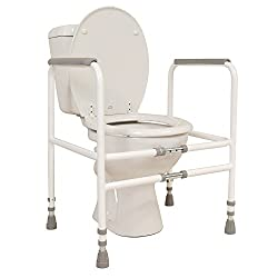 Width and Height Adjustable Toilet Frame No Screwing Aid to Get up from Toilet Seat