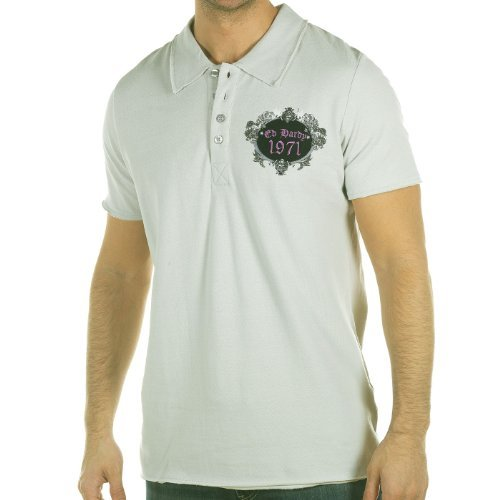 Ed Hardy Mens Death Before Dishonor Rhinestoned Polo Shirt - Gray - Xx-Large