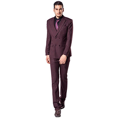 XoMoFlag Men's Vintage Wedding Suit Double-breasted Tuxedo L Red