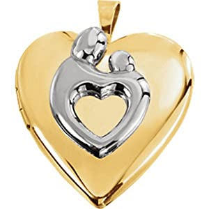 IceCarats® Designer Jewelry Gold Filled Heart Shaped Mother And Child Locket 21.00X19.25 Mm
