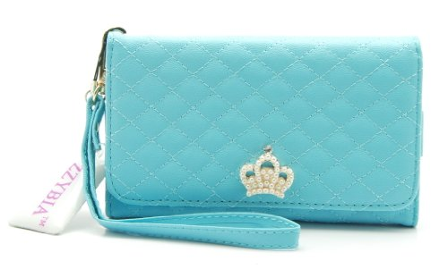 ZZYBIA® NOTE III 3 PQC Light Blue Leatherette Wristlet Pouch Case Card Holder Wallet for Apple iPhone 6 , Samsung Galaxy S5 / S6 / Note 3 / 2 / , Google Nexus 5, LG G2, HTC One M7, Sony Xperia Z3 / Z2 / Z1, LG G3 / [Up to 6 x 3.1 Inch Cellphone] (Nexus 5 Light Blue Wallet Case compare prices)